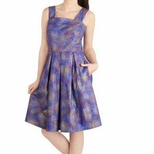 ModCloth Purple Firework Wonder Fit & Flare Dress